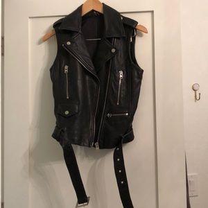 TOP SHOP. Leather biker vest